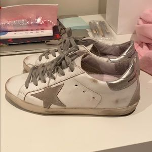 white and silver golden goose sneakers 36
